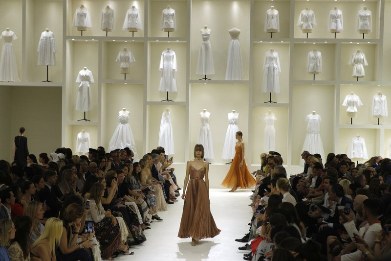 Models wears creations for Dior Haute Couture Fall-Winter 2018/2019 fashion collection presented on Monday, July 2, 2018 in Paris. Photo: AP