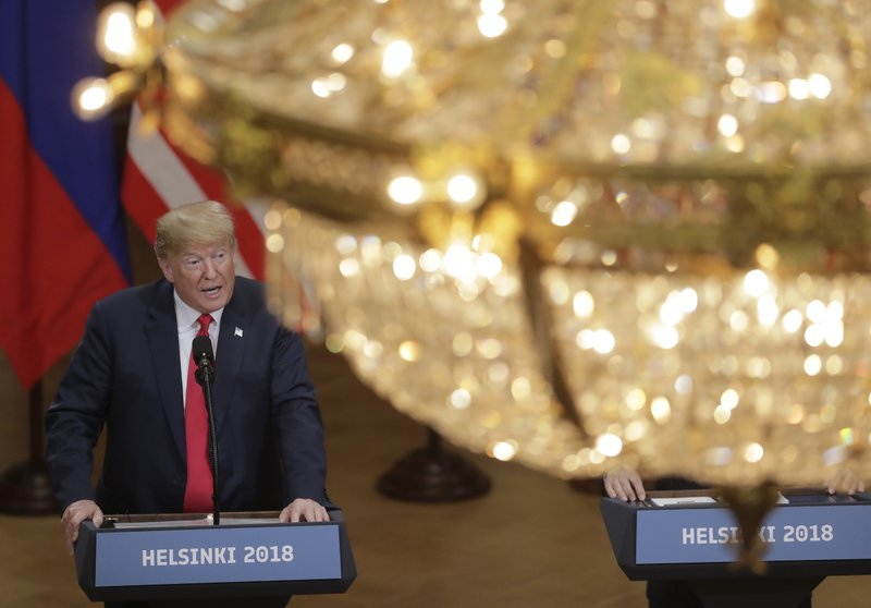 U.S. President Donald Trump speaks during a press conference after the meeting of U.S. President Donald Trump and Russian President Vladimir Putin at the Presidential Palace in Helsinki, Finland, on Monday, July 16, 2018. Photo: AP