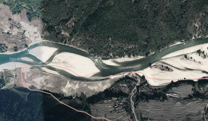 A satellite image of the incident site at the border of Talara and Dhungad in Doti separated by the Seti river. Photo: Google Maps