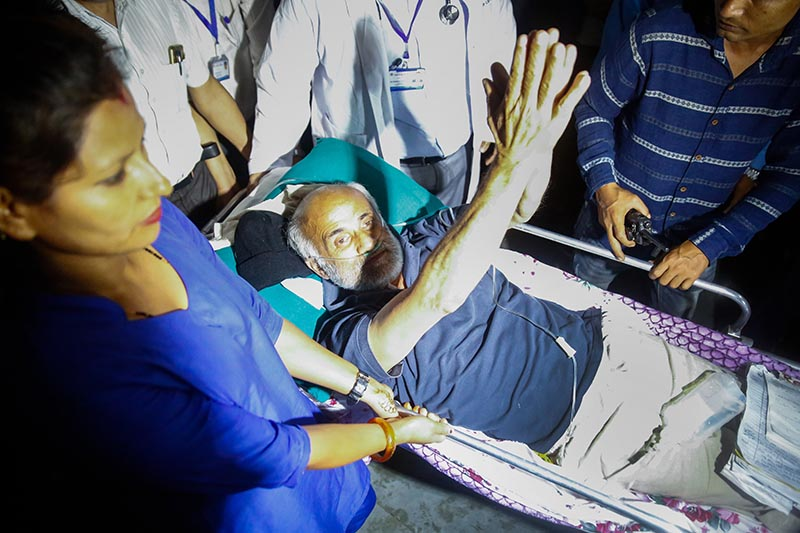 Dr Govinda KC, who has been on fast-unto-death demanding reforms in medical education, being shifted to TU Teaching Hospital, in Kathmandu, on Thursday, July 19, 2018. Photo: Skanda Gautam/THT