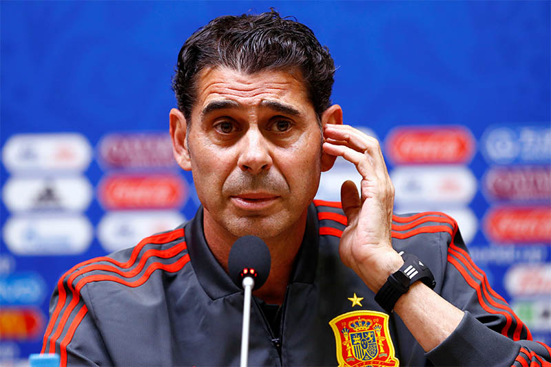 Spain coach Fernando Hierro during the press conference. Photo: Reuters