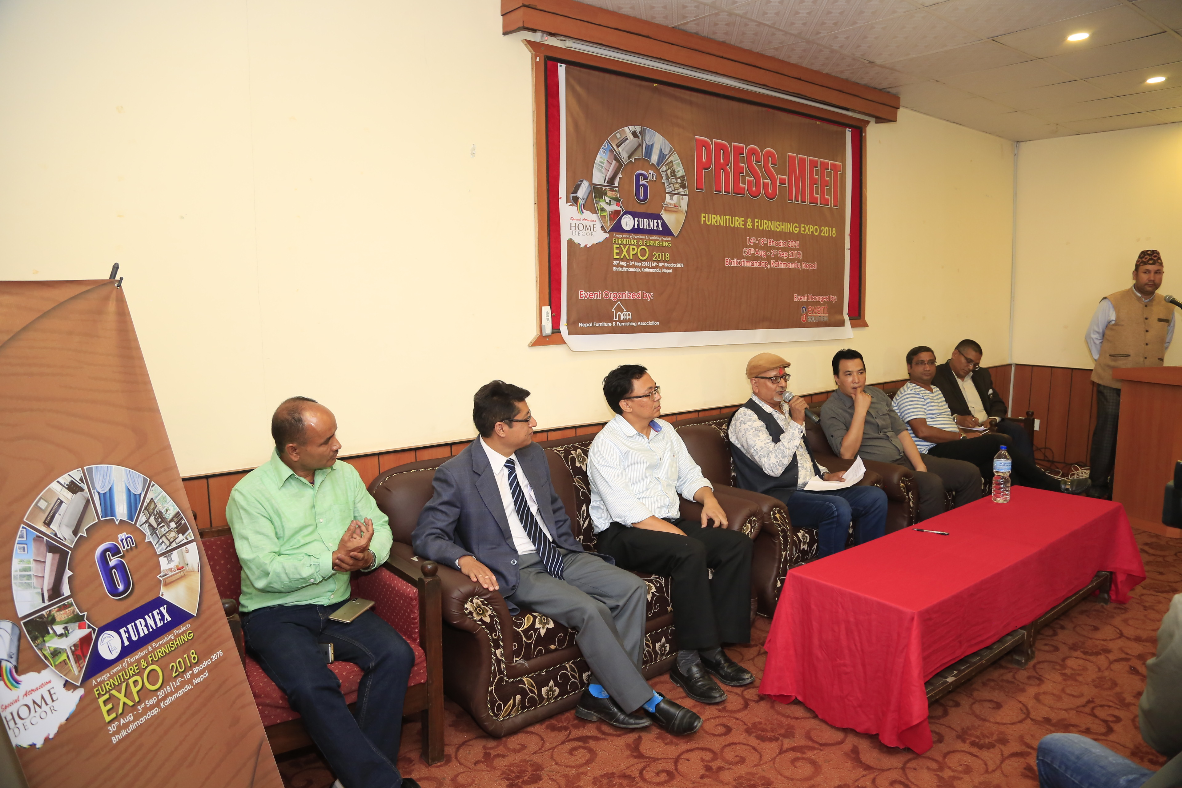 Organisers of FURNEX-2018 brief the media personnel at a press meet, in Kathmandu, on Sunday, July 08, 2018.