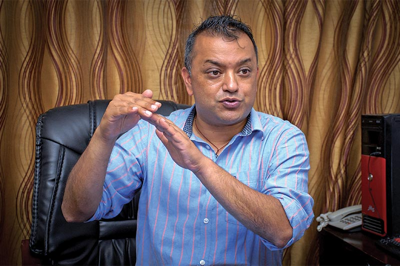 Interview with NC leader and former health minister Gagan Thapa, in Kathmandu, on Sunday, July 8, 2018. Photo: THT