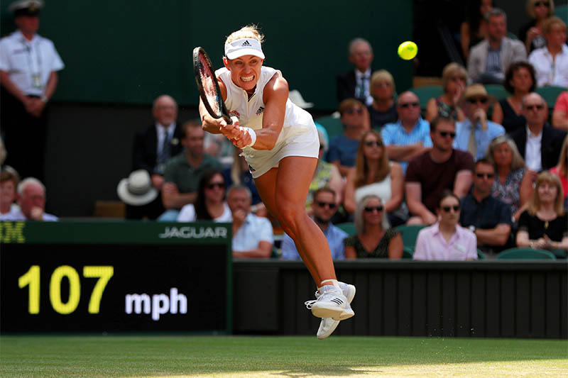 Germany's Angelique Kerber in action during her semi final match against Latvia's Jelena Ostapenko. Photo: Reuters