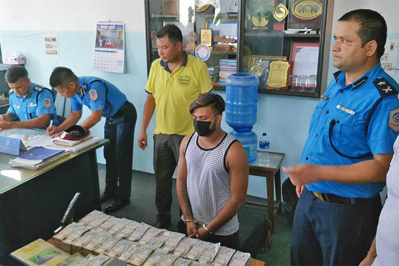 An alleged hundi operator being made public at the District Police Office, Parsa, on Sunday, July 08, 2018. Photo: Ram Sarraf