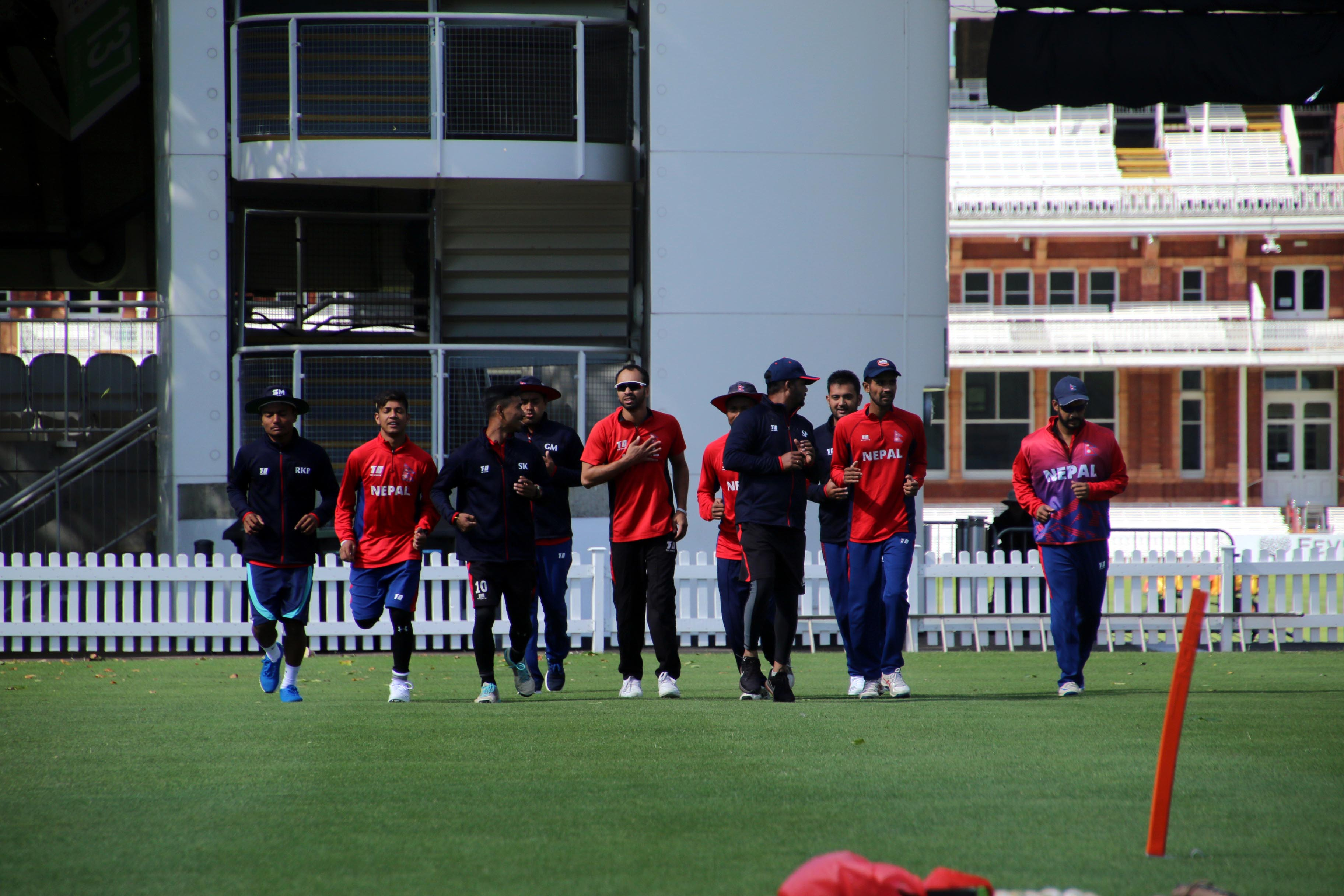 Players of Nepal National Cricket Team train at Lord's Cricket ground in London, England on Saturday, July 28, 2018,  a day prior to T20 Triangular Tournament involving Nepal, MCC and The Netherlands. Photo:  Raman Shiwakoti/ Nepal Cricket Team