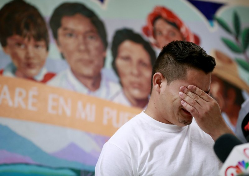 File - In this photo, Christian, from Honduras, recounts his separation from his child at the border during a news conference at the Annunciation House,in El Paso, Texas on June 25, 2018. Photo: AP