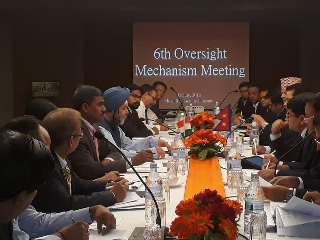 Indian and Nepali officials attend the 6th meeting of India-Nepal Oversight Mechanism on July 18, 2018. Photo: Embassy of India