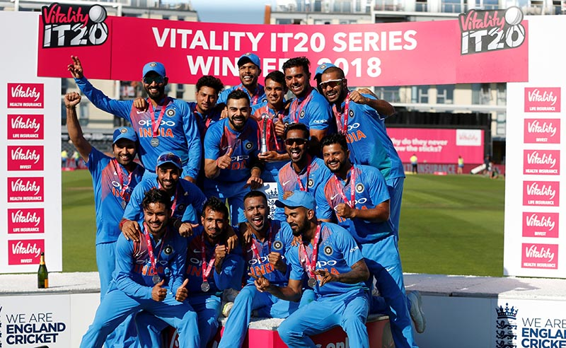 India celebrate victory with the series trophy after wining Third International T20 match between England and India at The Brightside Ground, Bristol, Britain, on July 8, 2018. Photo: Action Images via Reuters