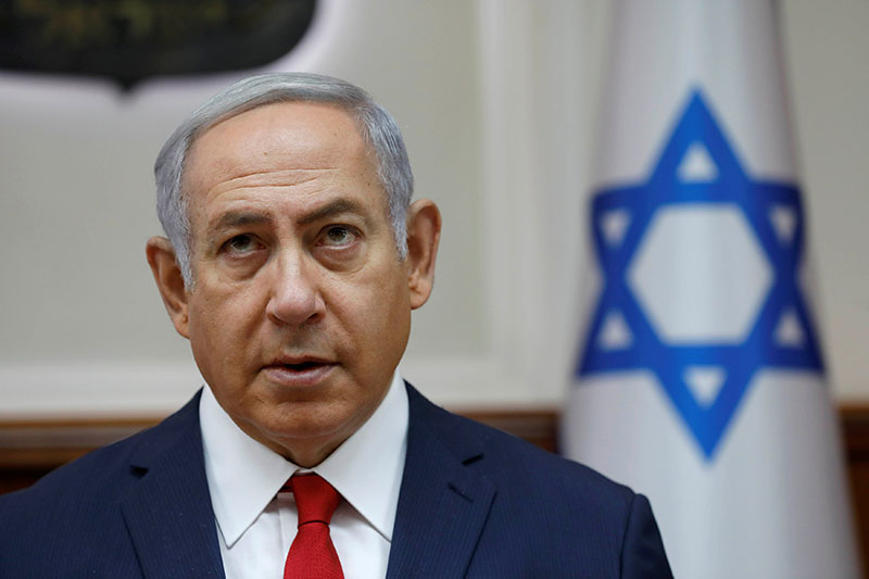Israeli Prime Minister Benjamin Netanyahu attends the weekly cabinet meeting at his office in Jerusalem, on July 8, 2018. Photo: Reuters
