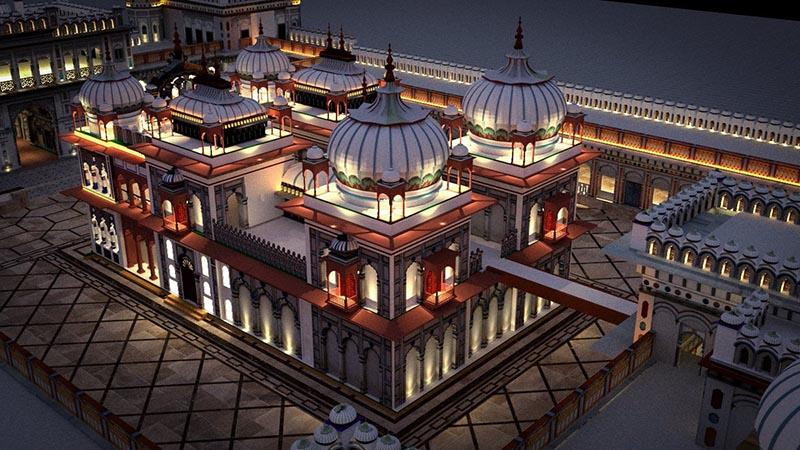 The illumination design of Janaki Temple, Janakpur as proposed to NRNA. Photo Courtesy: Subhash Adhikari