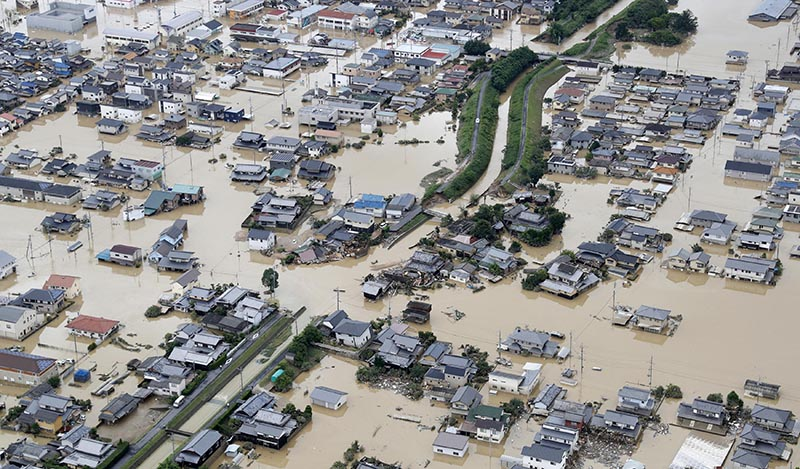 A flooded area is seen after heavy rain in Kurashiki, Okayama Prefecture, Japan, in this photo taken by Kyodo July 8, 2018.Photo: Kyodo/via Reuters