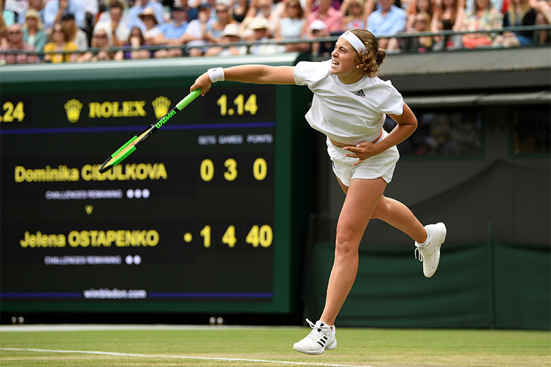 Jelena Ostapenko in action during her quarter final match against Slovakia's Dominika Cibulkova. Photo: Reuters