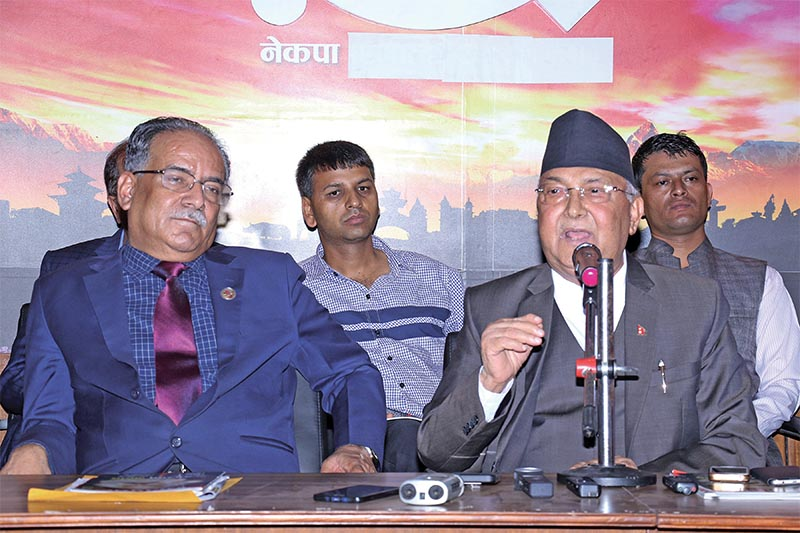 Prime Minister KP Sharma Oli speaking at a programme held by Nepal Communist Party (NCP), in Kathmandu, on Tuesday, July 24, 2018. Photo: RSS