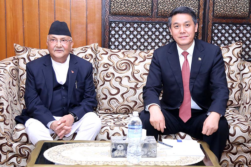 Prime Minister KP Sharma Oli holding a meeting with Chinese Deputy Minister of External Affairs Wang Yajun in nBaluwatar, Kathmandu, on Sunday, July 29, 2018. Photo: RSS