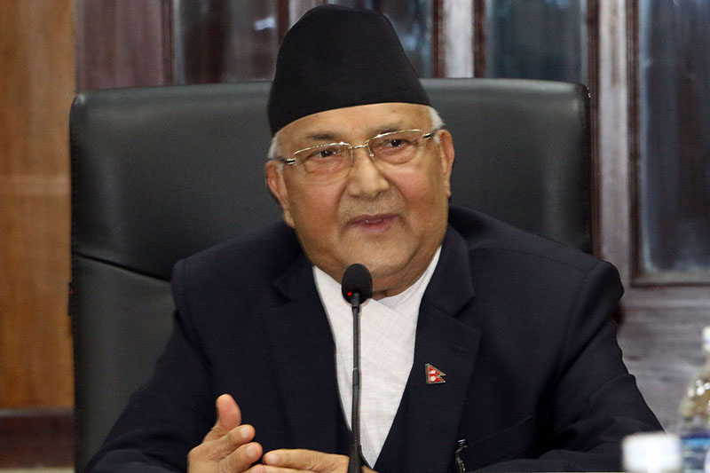 FILE - Prime Minister KP Sharma Oli speaks at a meeting in Singha Durbar in Kathmandu, on Monday, July 2, 2018. Photo: RSS