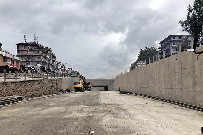 The Kalanki Underpass which is in the final phases of construction as of Friday, July 27, 2018. Photo: Mausam Shah Nepali