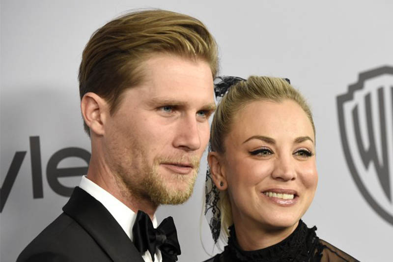 File: Karl Cook (left) and Kaley Cuoco arrive at the InStyle and Warner Bros. Golden Globes afterparty at the Beverly Hilton Hotel in Beverly Hills, California. Photo: AP