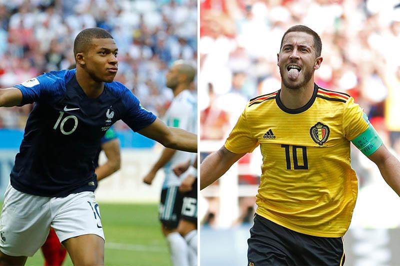 File: France's striker Kylian Mbappe (left) and Belgium's playmaker Eden Hazard. Photos: Reuters