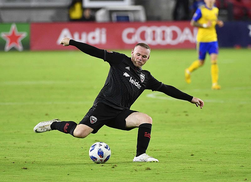 DC United forward Wayne Rooney (9) passes the ball against the Colorado Rapid during the second half at Audi Field at Washington, in DC, USA, on July 28, 2018. Photo: Brad Mills-USA TODAY Sports via Reuters