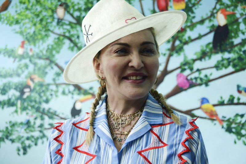 US singer Madonna speaks to the press at a news conference in Blantyre, Malawi, on Monday, July 16, 2018. Photo: AP