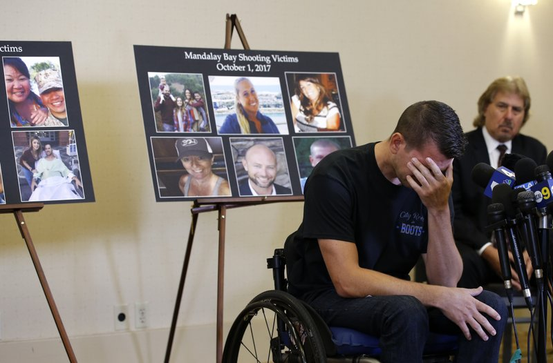 Jason McMillan, 36, of Riverside, a Riverside County Sheriffu2019s deputy who was shot and paralyzed in the Oct, 1, 2017, Las Vegas shooting, reacts as he talks about that evening and is upset MGMu2019s decision, during a personal account brought together by attorneys at a news conference in Newport Beach, Calif., on Monday, July 23, 2018. Photo: AP