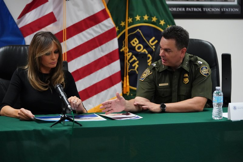 In this June 28, 2018 photo, first lady Melania Trump talks with Rodolfo Karisch, Chief Patrol Agent, Tucson Sector Border Patrol, as she visits a U.S. Customs border and protection facility in Tucson, Ariz. Photo: AP