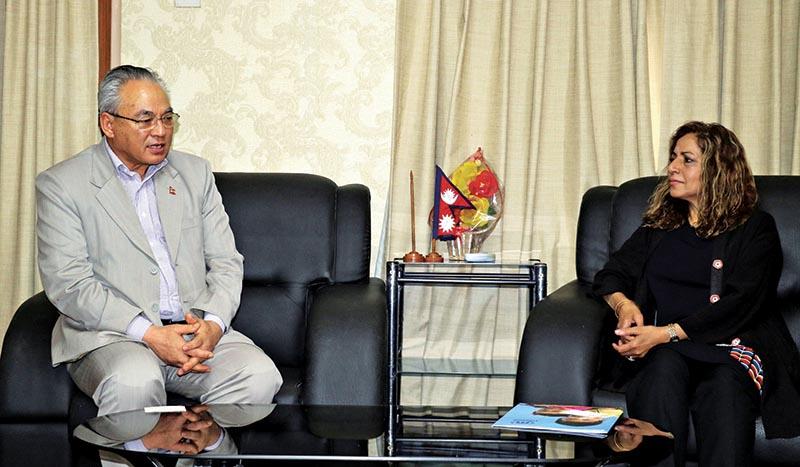 Minister of Home Affairs Ram Bahadur Thapa holding a meeting with UNHCR Representative in Nepal Bushra Halepota in Singha Durbar, Kathmandu, on Thursday. Photo: RSS