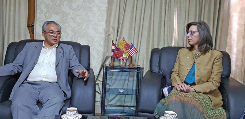 Minister of Home Affairs Ram Bahadur Thapa holding a meeting with US Ambassador to Nepal Alaina B Teplitz, in Kathmandu, on Wednesday, July 26, 2018. Photo: THT