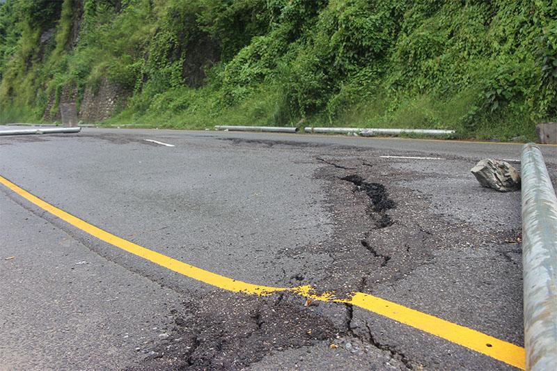 The damaged road along Muglin-Narayangadh road section, on Wednesday, July 11, 2018. Photo: Tilak Ram Rimal