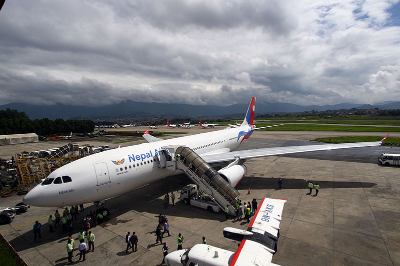 FILE: The second wide-body Airbus aircraft (A330-200) of Nepal Airlines Corporation being welcomed at Tribhuvan International Airport, in Kathmandu, on Thursday, July 26, 2018. Photo: RSS