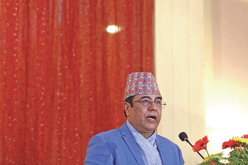 NRB Governor Chiranjibi Nepal presenting Monetary Policy 2018-19, in Kathmandu, on Wednesday. Photo: Skanda Gautam/ THT