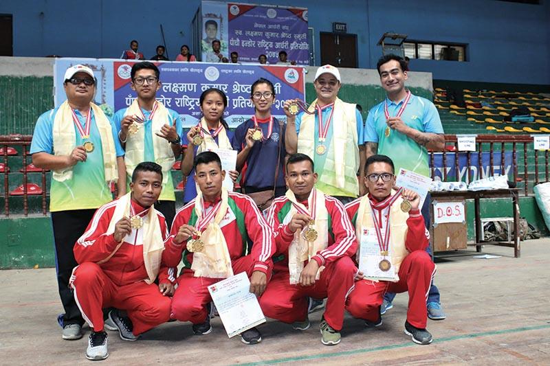 Winners of the Laxman Kumar Shrestha Memorial fifth National Indoor ArcheryTournament pose for a group photo in Kathmandu on Tuesday. Photo: THT