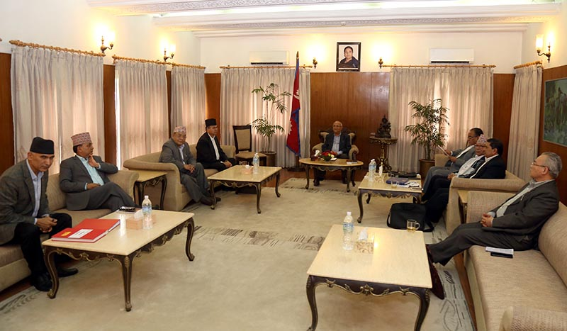 Nepal Communist Party (NCP) Co-chairs KP Sharma Oli and Pushpa Kamal Dahal among party's other leaders holding the Secretariat meeting at the PM's official residence in Baluwatar, Kathmandu, on Wednesday, July 4, 2018. Photo: RSS