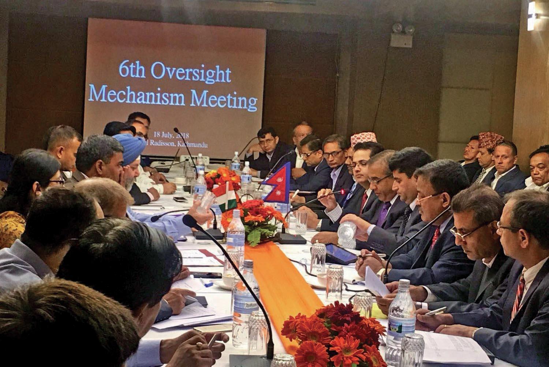 The sixth meeting of Nepal-India Oversight Mechanism under way, in Kathmandu, on Wednesday, July 18, 2018. Photo: RSS