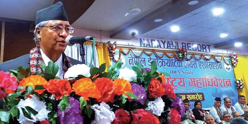 Nepali Congress President Sher Bahadur Deuba speaking at a programme, in Chitwan, on Saturday. Photo: THT