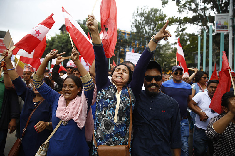Nepali Congress cadres chant slogans during a protest rally against Prime Minister KP Sharma Oli-led government for the recent price hikes among other reasons, in Kathmandu, on Tuesday, July 31, 2018. Photo: Skanda Gautam/THT