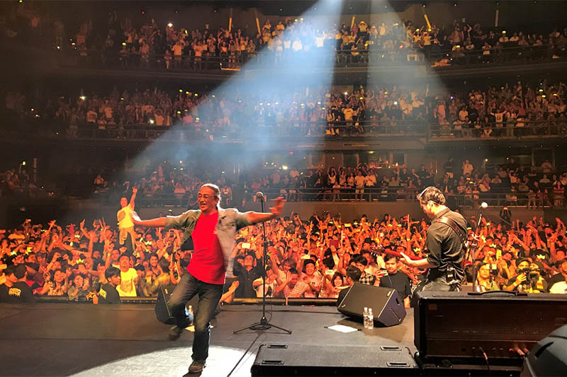 Nepathya's lead singer Amrit Gurung along with his guitarist perfoms at the Tokyo Dome City Hall, in Tokyo of Japan,on Saturday, July 07, 2018. Photo: Kiran Krishna Shrestha