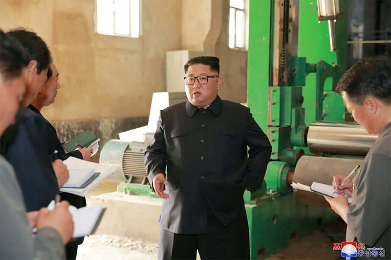 North Korea's leader Kim Jong Un tours a factory in Sinuiju, North Korea, in this undated photo released by North Korea's Korean Central News Agency (KCNA) July 2, 2018. Photo: Reuters