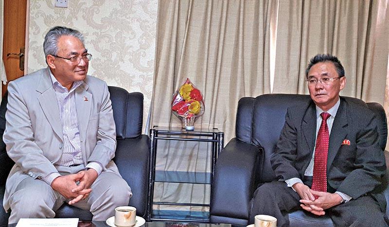 North Korean Ambassador Kim Yong Hak paying courtesy call on Home Minister Ram Bahadur Thapa at the latteru2019s office, in Kathmandu, on Friday, July 13, 2018. Photo: RSS