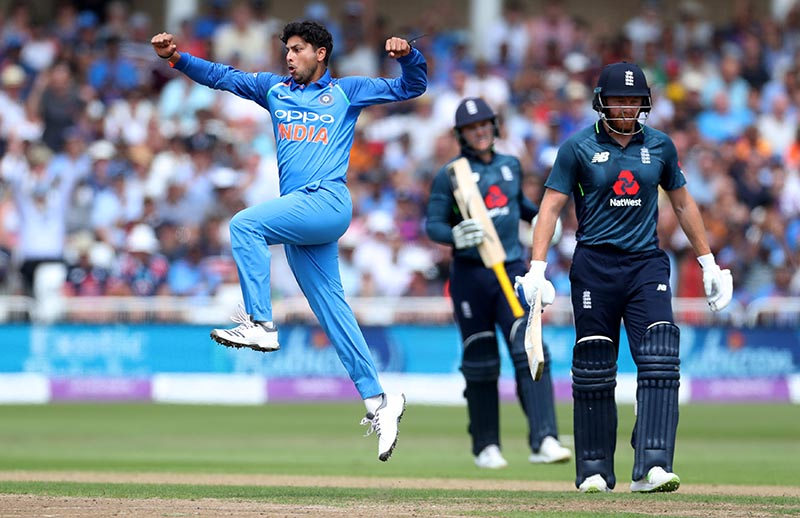 India's Kuldeep Yadav celebrates taking the wicket of England's Jason Roy during the First One Day International match between England and India, at Trent Bridge, Nottingham, Britain, on July12, 2018. Photo: Action Images via Reuters