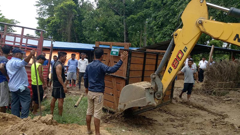 Preparations under way to send two China-bound one-horn rhinos to Kathmandu, at the National Natural Conservation Fund Office, Sauraha, Chitwan, on Tuesday, July 10, 2018. Photo: THT