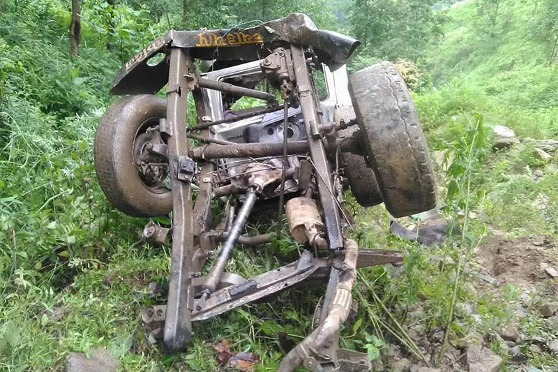 Wreckage of a jeep that plunged below the road in Panchthar, on Tuesday, July 10, 2018. Photo: THT