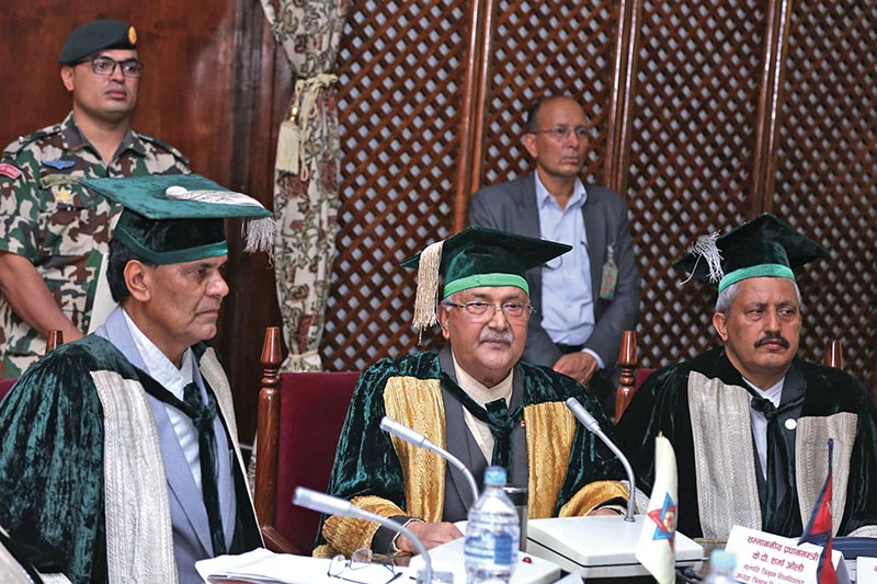 Prime Minister KP Sharma Oli addressing the 59th annual day of Tribhuvan University, in Kirtipur, on Saturday. Photo: THT