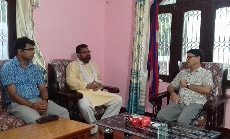 FILE: Province 7 Chief Minister Trilochan Bhatta (right) meeting Dhangadi Mayor Nripa Bahadur Od (second from left), in Dhangadi, on Saturday. Photo: THT