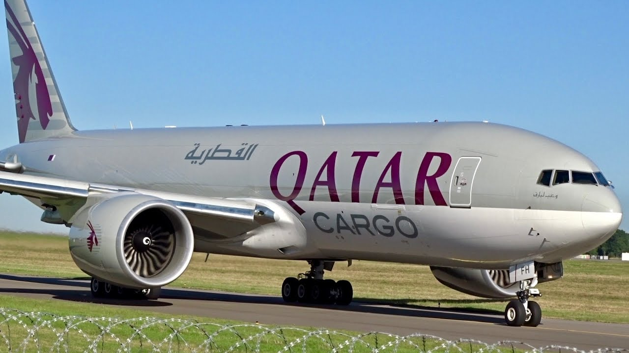 An undated image showing Qatar Airways Cargo Boeing 777F in Up-close Taxi and Takeoff from Luxembourg Findel Airport - Photo:  YouTube