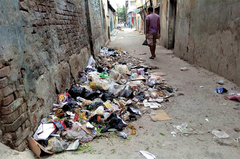 Garbage piled up in an alley due to the absence of a dumping site in Rajbiraj Municipality, Saptari, on Thursday, July 26, 2018. Photo: THT