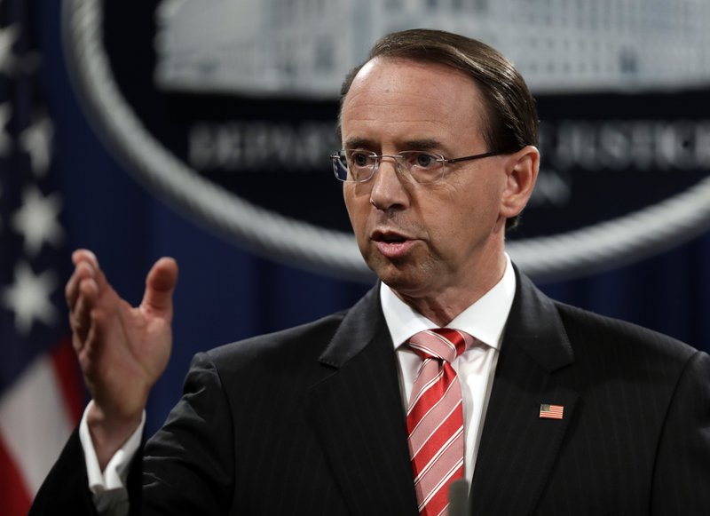 Deputy Attorney General Rod Rosenstein speaks during a news conference at the Department of Justice, on Friday, July 13, 2018, in Washington. Photo: AP