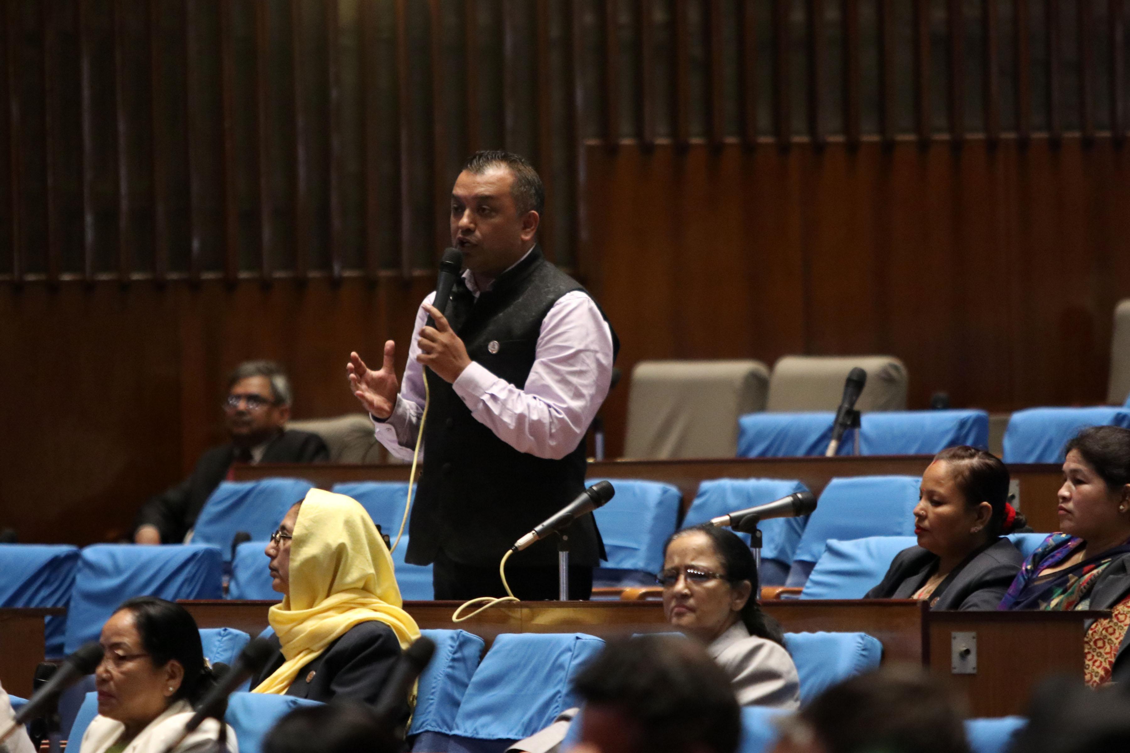 NC Lawmaker Gagan Thapa speaks during HoR meeting at New Baneshwar on Friday, July 27, 2018. Photo: RSS