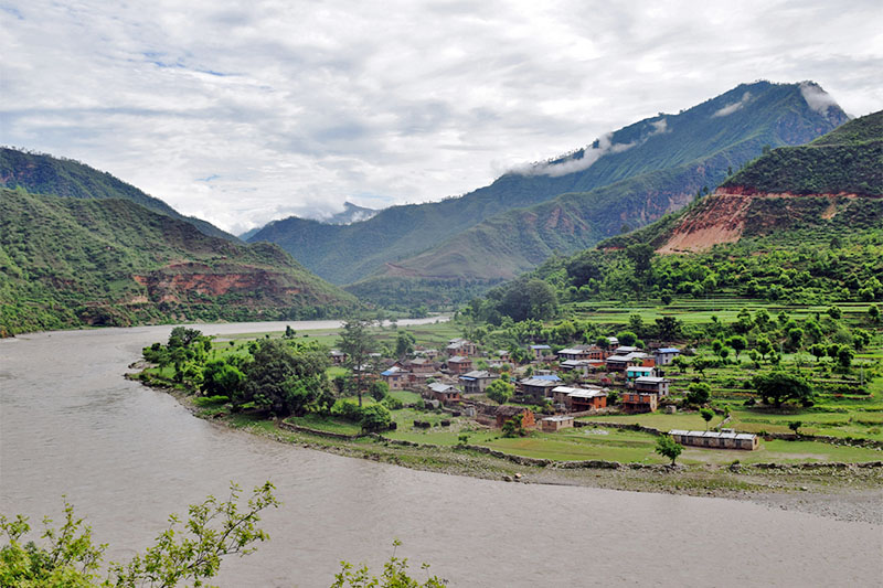 A spectacular view of Bangard Kupinde Municipality on the banks of Bheri River in Salyan district, on Monday, July 30, 2018. Photo: RSS